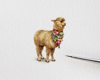 Original watercolor miniature painting. Alpaca (Vicugna Pacos)