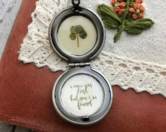 Fox Locket with Real Four Leaf Clover // Free Shipping