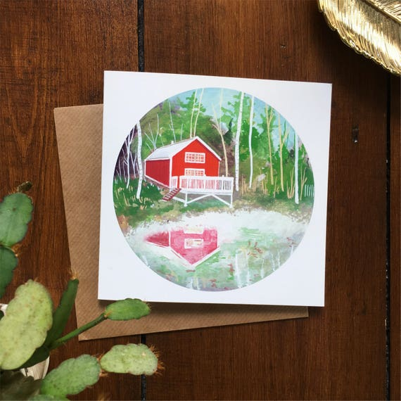Red Cabin Greetings Card