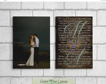 ON SALE Set of 2 canvases, Wedding song, lyrics, Vows Custom Canvas, 1st. Anniversary Gift, Wedding Promises, Gift for husband from wife,