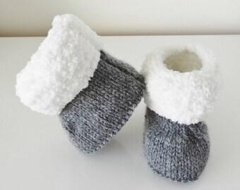 mixed fur boots gray woolen baby