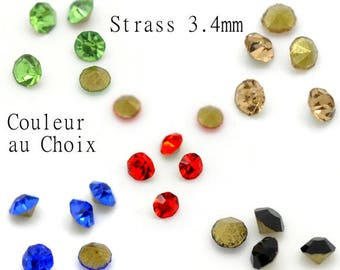 20 glass rhinestones faceted choice size 3.4 mm