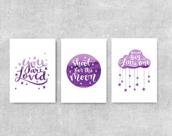 Purple Print Set, Watercolor Nursery Art, Dream Big Print, You Are Loved, Shoot For The Moon, Purple Kids Decor, Purple Wall Art