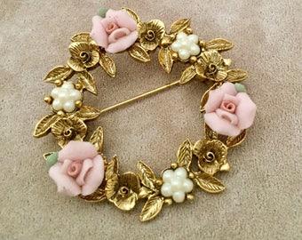 Vintage Porcelain Rose Wreath Brooch
