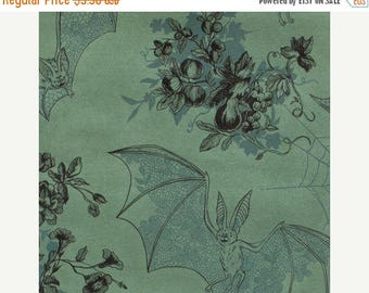 20% Off Angela's Attic Alexander Henry Floral Toile Print, Spider Webs, Lace Patterned Bats, Green with Teal Accents, 100 Percent Cotton Fab