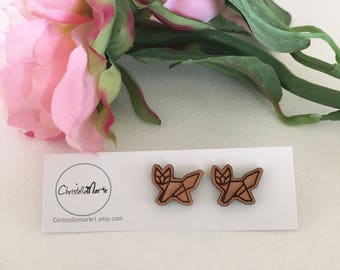Wooden Geometric Fox Earrings