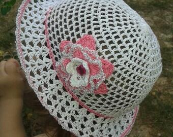 Crochet hats for kids Girls summer hats white Pink flower Summer beanie Crochet girl hat Suns hats Crochet flower Girls sun hat
