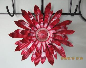 Recycled Metal Flower/ Metal Art/ Tin Can Flower/ Garden Decor/ Re purposed Metal Cans/ Indoor/ Outdoor Decor