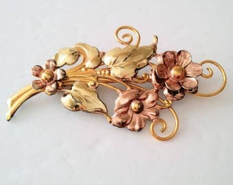Vintage 12k Yellow and Rose Gold Filled Floral Brooch