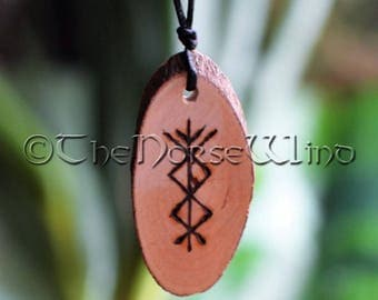 Viking Runes Protection Amulet for Success Prosperity Talisman Viking Jewelry Handmade Charm Talisman Wicca Pagan Pine Wood