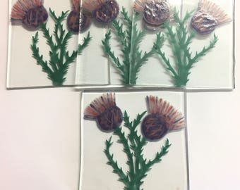 Pack of 4 Hand Painted Scottish Thistle Coasters made from recycled glass