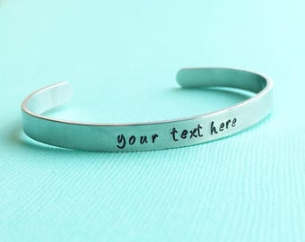 "Customized Hand Stamped Bracelet Aluminum Skinny Cuff Bangle Stamped Cuff Personalized Custom Valentine's Day Christmas - 1/4"" Wide"