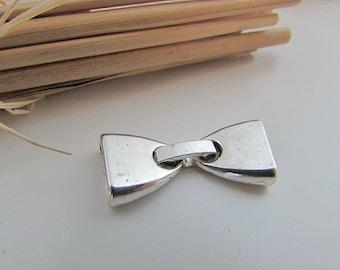 5 flat 0.9 cord bracelet clasp - silver metal, bronze - 2.8 cm x 1.2 cm