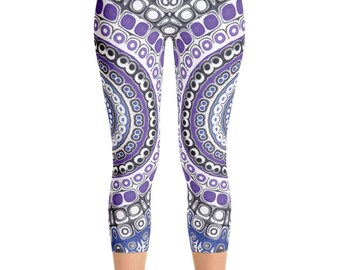 Capris, Tribal Leggings, Blue and Purple Mandala Leggings, Aztec Style Leggings, Festival Pants, Yoga Pants