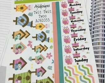 AJ6D355, Twit Twit Twoo. Washi + Date Cover Up Sheet. Planner Stickers.