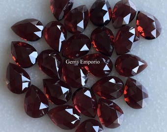 Natural Garnet Pear Faceted Rose Cut 10x7 MM / January Birthstone / Fine Quality Garnet Gemstone / Price per piece.
