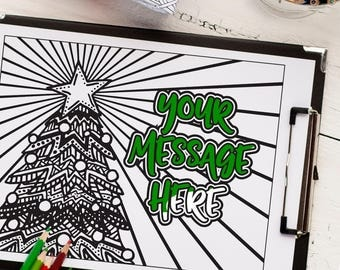 """Custom Christmas tree coloring page from your message 