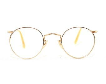 Algha 20 Round 40s Eyeglasses 1940's Wire Rim Eye Glasses Gold Filled Fine Etched Frame Large Size Great FREE SHIPPING FulVue Panto