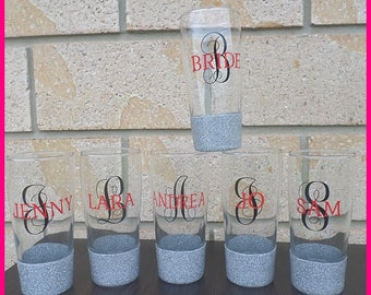 Personalised Glitter Water (Drinking) Glass (approx 240-250ml)