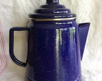 Vintage Cobalt Blue Enamelware Coffee Percolator, Camping Coffee Pot, Rustic, Farmhouse, Cottage Decor