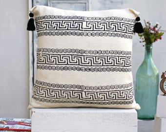 Block Printed Linen Decorative Pillow | 100% Cotton Pillow