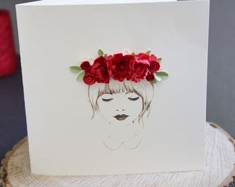 Flower girl crown/ Birthday Card/Love Cards/Lady in red/Daughter/Sister/