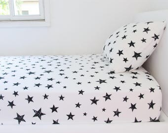 stars twin bedding set twin duvet cover black white nursery decor children bedding