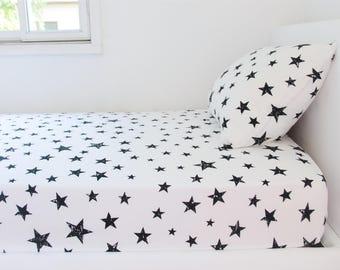 Stars Twin Bedding Set, Twin Duvet Cover, Black White Nursery Decor, Children Bedding, Boy Twin Bedding, Girl Toddler Bedding, Toddler Duvet