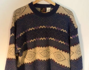 80s striped wool southwest design sweater// Cozy warm ski blue geometric// Vintage Genoa Argentina// Unisex mens L large