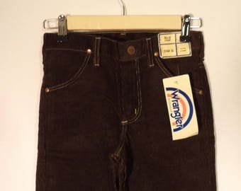 70s 80s NEW corduroy pants// Unisex kids Wrangler dead stock NWT USA made brown western straight retro// Size 25 W 10 12 boy girl