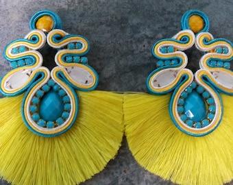 Earrings soutache Yellow design my kmi