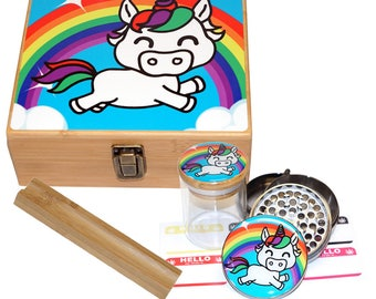 "Large Size Geometry Stash Box, 2.5"" Zinc Alloy Grinder,  Stash Jar, 6"" Rolling Tray - ALL IN ONE Box Package - Unicorn Design # LBCS020818-9"