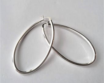 X-Large Sterling Silver Hoop Earrings, Thin Lightweight Hoop Earrings, Oval Hoop Earrings, Minimalist Style,Modern Jewelry, Gift For Her.