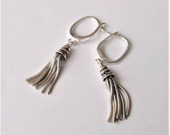 Sterling Silver Earrings, Dangle Earrings, Silver Charm Earrings,  Tassel Earrings, Minimalist Modern Earrings, Simple Everyday Earrings.