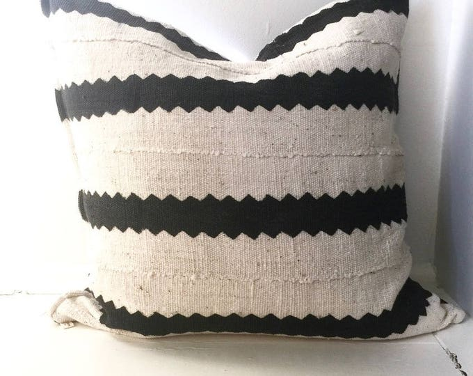 """Vintage African Mud Cloth Fabric Throw Pillow 20"""" x 20"""""""