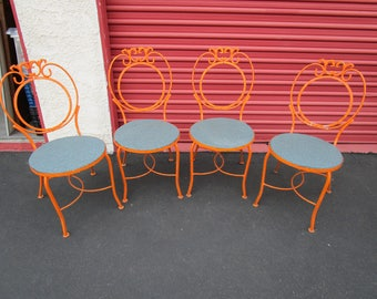 Orange Patio Chairs wrought iron patio furniture | etsy