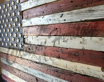 Wooden American Flag,Barn wood flag,Rustic flagWooden flag, American flag, Reclaimed Rustic