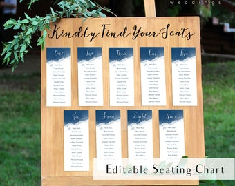 Editable navy watercolor seating chart, calligraphy seating chart, printable seating plan, indigo seating chart, find your seat sign