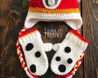 crochet paw patrol hat & mitten set