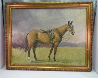 19th Century oil painting on canvas , hand painted horse ,gilt framed