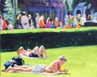 The Esplanade - Helsinki /oil painting of Helsinki street scene