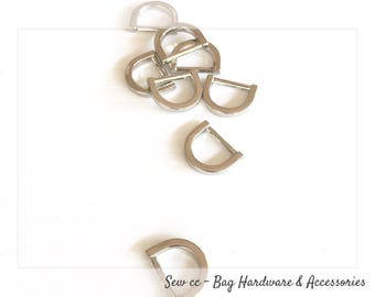 "13 mm - 1/2"" D Rings (PACK OF 2) - Cast D Rings in Nickel - D rings - Sew cc bag hardware & accessories"