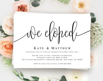 We Eloped Announcement Elopement Reception Invitation Template Post Wedding Elope Invites