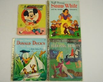 Lot of 4 Walt Disney Golden Books Mouseketeers Snow White Sleeping Beauty Donald Ducks Toy Sailboat Crafting Childs School Room Decor
