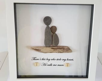Handmade pebble art picture, mother and son