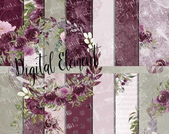 Digital Paper, Dark Burgundy Peony Paper, Wedding Peonies, Watercolor Peony Paper. No. P208