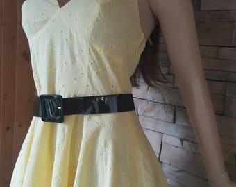 Yellow eyelet halter top dress/60 style dress /pin up dress/rockabilly dress/