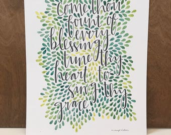 Come Thou Fount, Inspirational Quote, Watercolor Print, LDS Quote, Watercolor Print