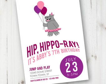 Hippo Birthday Invitation, Printable Invitation, Custom, Printable, Girl Birthday, Boy Birthday, Gender Neutral, Hippopotamus