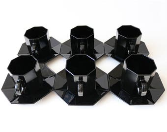 Arcoroc octime octagonal black glass tea cups & saucers